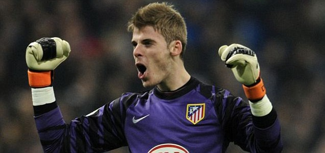 Atletico Madrid's goalkeeper David de Gea celebrates