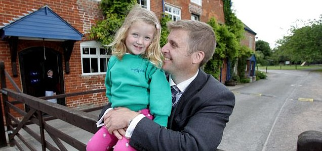 Matt Hill with his daughter Olivia at The Mill School, which he bought for £1million