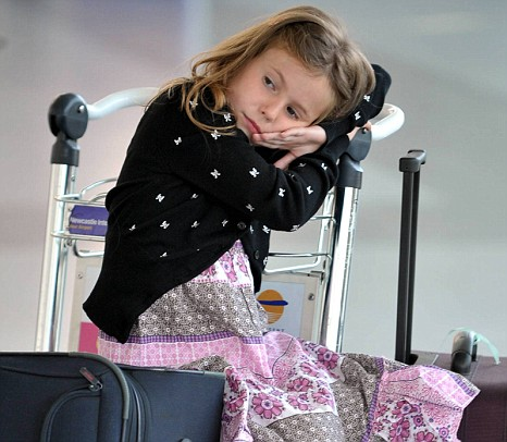 Keira Watts, six, is delayed at Newcastle airport