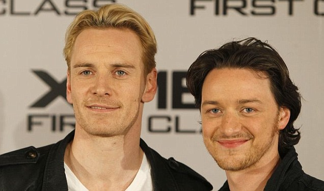 Michael Fassbender with X-Men: First Class co-star James McAvoy