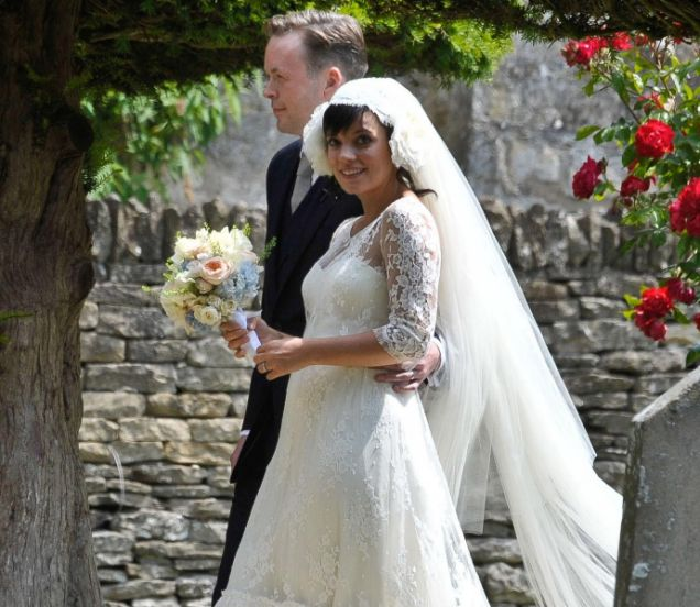 Lily Allen and her new husband Sam Cooper leave St James Church in Cranham (Picture: PA)