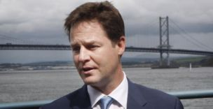 Deputy Prime Minister Nick Clegg during a visit to South Queensferry in Scotland