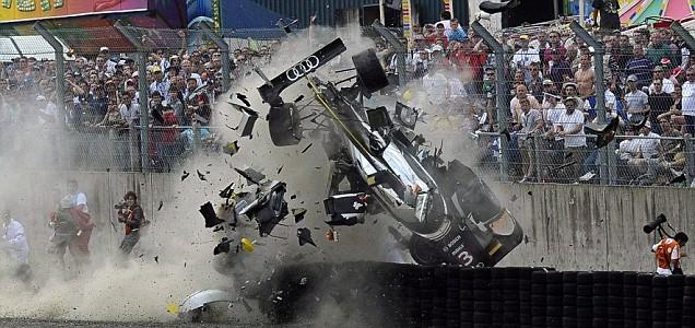 Scottish driver Allan McNish in his Audi Nr 3 crashes