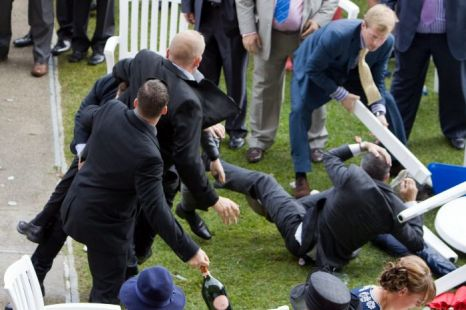 Royal Ascot brawl saw bottles thrown, punches traded and tables smashed (Picture: INS)