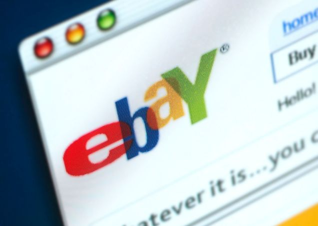 A3BEFR The homepage website and logo of eBay