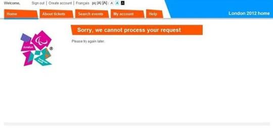 London 2012 ticket screenshot Olympics 'shambles'