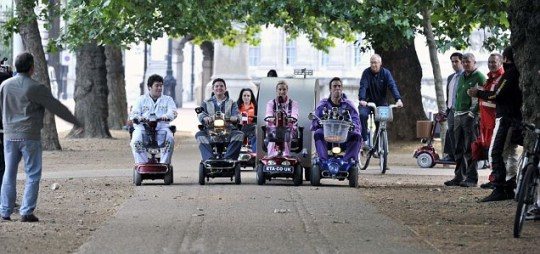 Absolute Radio DJ Christian O'Connell took his breakfast show team on a mobility scooter grand prix