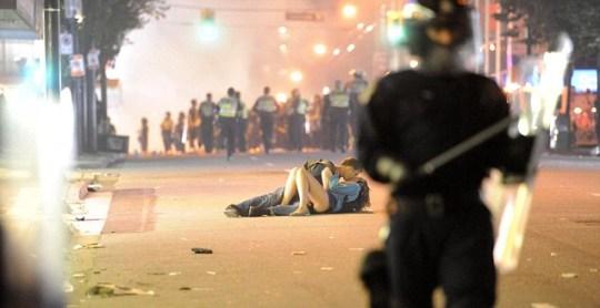 Scott Jones and Alex Thomas during the Vancouver riots