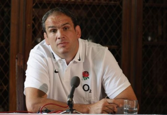 BAGSHOT, ENGLAND - AUGUST 22:  (STRICTLY EMBARGOED FROM ALL PRINT, BROADCAST AND ONLINE USAGE UNTIL 19.45 BST ON AUGUST 22, 2011) (EXCLUSIVE COVERAGE) England manager Martin Johnson attends an England Rugby press confernece at Penny Hill Park on August 22, 2011 in Bagshot, England.  (Photo by David Rogers/Getty Images)