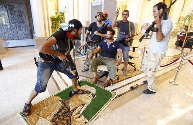 Libya leader Muammar Gaddafi poster at Rixos hotel Tripoli