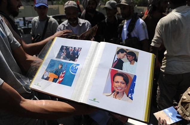 Condoleezza Rice pictures found in Col Gaddafi's residence