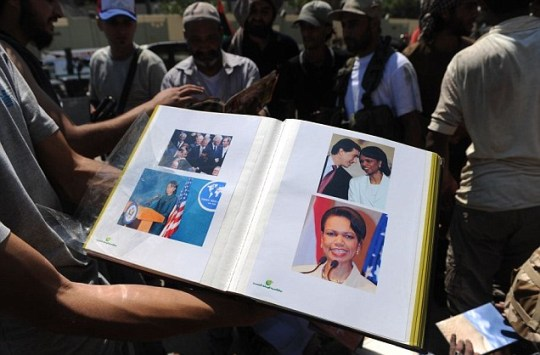 Condoleezza Rice pictures found in Col Gaddafi's residence