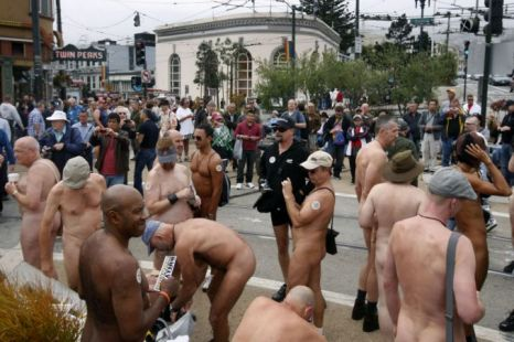 Nudists gather for a nude-in protest in San Fransisco (Picture: AP)