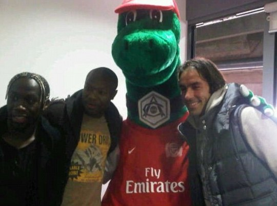 Bacary Sagna, William Gallas, Gunnersaurus, Robert Pires