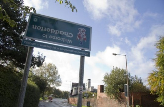 'Welcome to Chadderton ' sign upside down