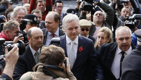 Wikileaks founder Julian Assange at the High Court in London extradition appeal