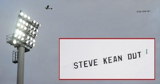 Steve Kean protest plane banner over Ewood Park during Blackburn v Chelsea