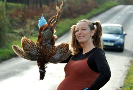 Alison Brierley with her roadkill