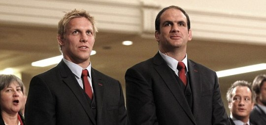 England team manager Martin Johnson with Lewis Moody
