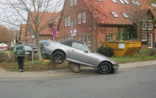 Car in Germany on rock Helmut Schmidt