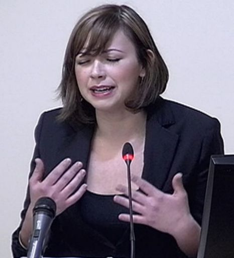 An emotional Charlotte Church at the Leveson Inquiry