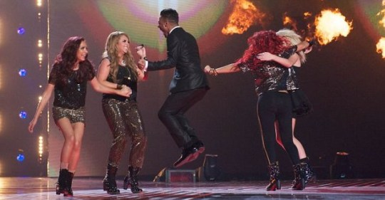 Marcus Collins and Little Mix set reach new levels of levitation if they win tonight's X Factor Final. (Picture: Rex)