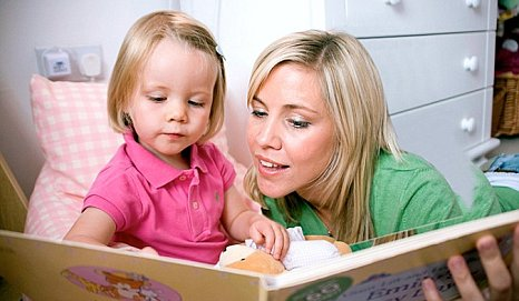 UK adoption mother and child, mum and toddler bedtime story