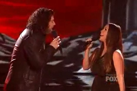 Josh Krajcik duets with Alanis Morissette on X Factor USA. (Picture: YouTube)