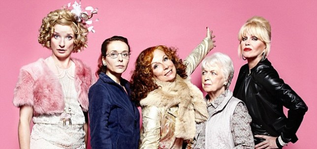 Programme Name: Absolutely Fabulous - TX: 25/12/2011 - Episode: n/a (No. 1) - Embargoed for publication until: 21/11/2011 - Picture Shows: EARLY RELEASE L-R *Christmas Highlights 2011*, Bubble (JANE HORROCKS), Saffy (JULIA SAWALHA), Edina (JENNIFER SAUNDERS), Mother (JUNE WHITFIELD), Patsy (JOANNA LUMLEY) - (C) BBC - Photographer: Jay Brooks
