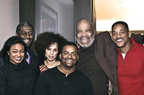 Fresh Prince stars Tatyana Ali (Ashley), Karyn Parsons (Hilary), Alfonso Ribiero (Carlton), James Avery (Phillip Banks) and Will Smith. (Picture: Facebook)