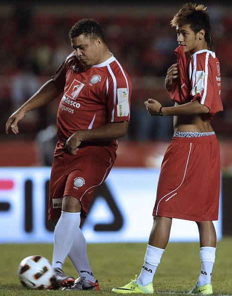 Ronaldo teamed up with Neymar in a charity match at Sao Paolo's Morumbi Stadium