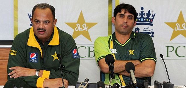 Pakistan manager Naveed Akram Cheema and captain Misbah ul Haq