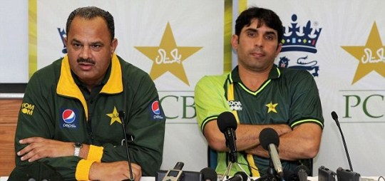 Pakistan manager Naveed Akram Cheema and captain Misbah ul Haq