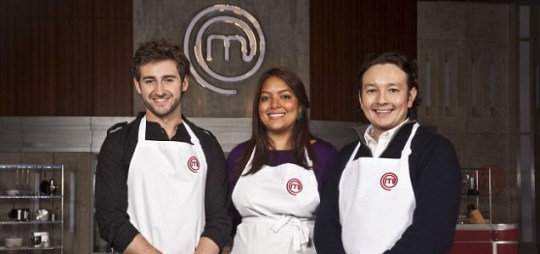 Masterchef's Andrew Kojima, Shelina Permalloo and Tom Rennolds compete for this year's crown (Picture: BBC)
