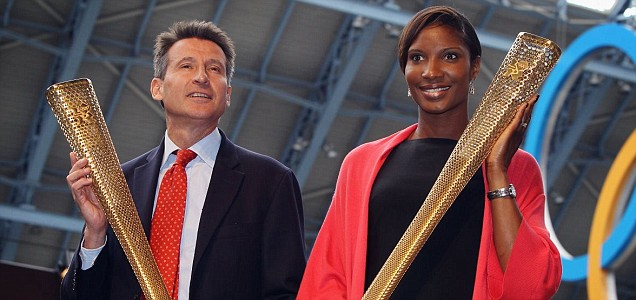 Lord Coe with former heptathlete Denise Lewis