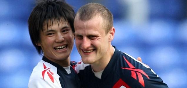 Ryo Miyaichi and David Wheater of Bolton