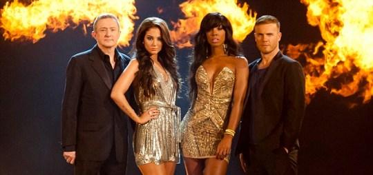 Louis Walsh, Tulisa Contostavlos, Kelly Rowland and Gary Barlow
