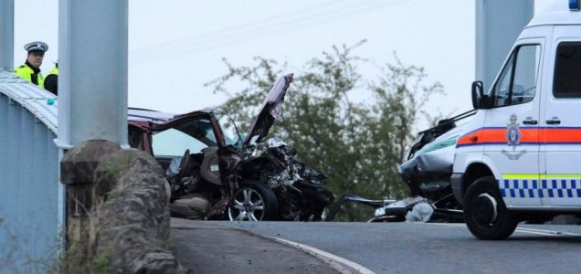 Police at the scene of a fatal car crash on the A614, close to the village of East Cowick, near Goole, East Yorkshire.