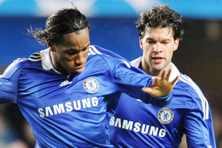 Under scrutiny: Drogba and Ballack have been criticised for their antics