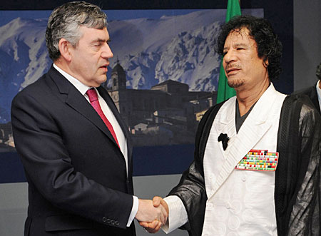 Gordon Brown and Muammar Gaddafi earlier this year