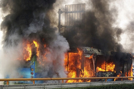The cause of the bus fire remains under investigation.