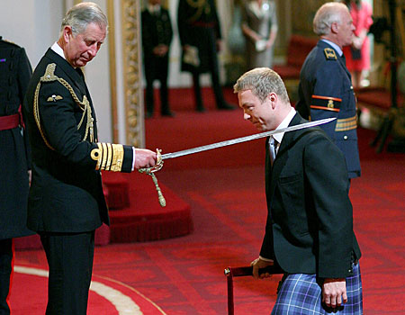 Chris Hoy is knighted by Prince Charles