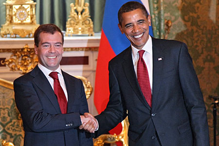 Obama and Russian president Medvedev