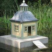 The 'Stockholm Duck Island' which MP Sir Peter Viggers installed in his garden pond