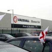 The car park at Vauxhall's Ellesmere Port factory in Cheshire