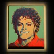 Andy Warhol's portrait, (Green) Michael Jackson, on display at The British Music Experience at the O2 centre in London