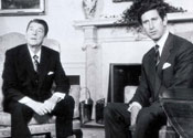 Former US president Ronald Reagan pictured with Prince Charles