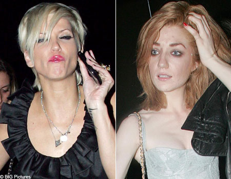 Sarah and Nicola look worse for wear as they leave the party in Camden