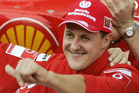Pain in the neck: Michael Schumacher was injured in February