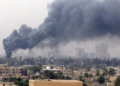 Smoke drifted across Iraqi capital skyline